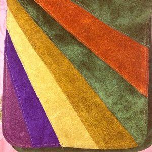 Vintage suede purse 70's retro style